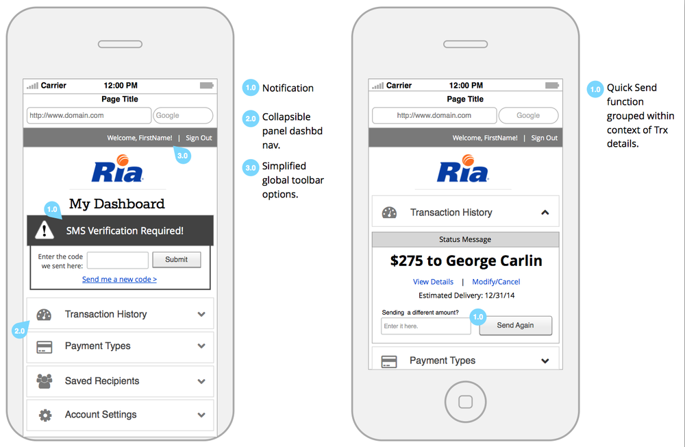 These wireframes show potential dashboard view for staged transaction customers.