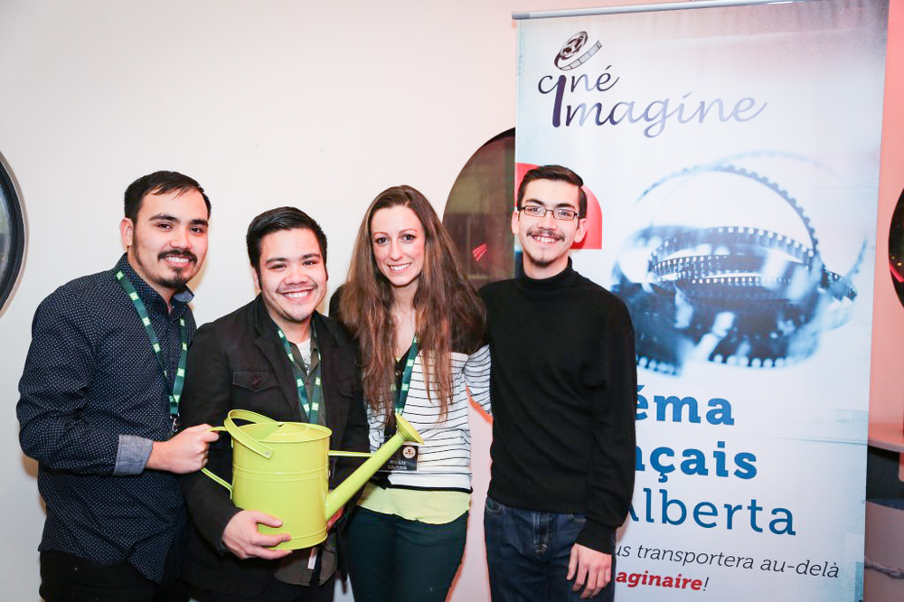 The brothers with festival programmer Marie after receiving our thoughtful gift of a watering-can to remind us to keep our dreams growing. Merci beaucoup!