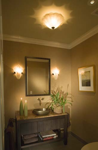 "Mount the vanity lights at 5' 6"" above the finished floor. The ceiling fixture provides both ambient and decorative light. Lighting Design: Randall Whitehead Interior Design: Nancy Satterberg Photo: Dennis Anderson"