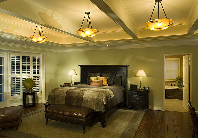 Bedroom: Raising the flat ceiling added architectural interest to master bedroom. Pendants by Christina Spann of Lightspann have dimmable CFL's. The perimeter cove LED lighting is the Color Kinetics/Philips EW Cove GLX Powercore.