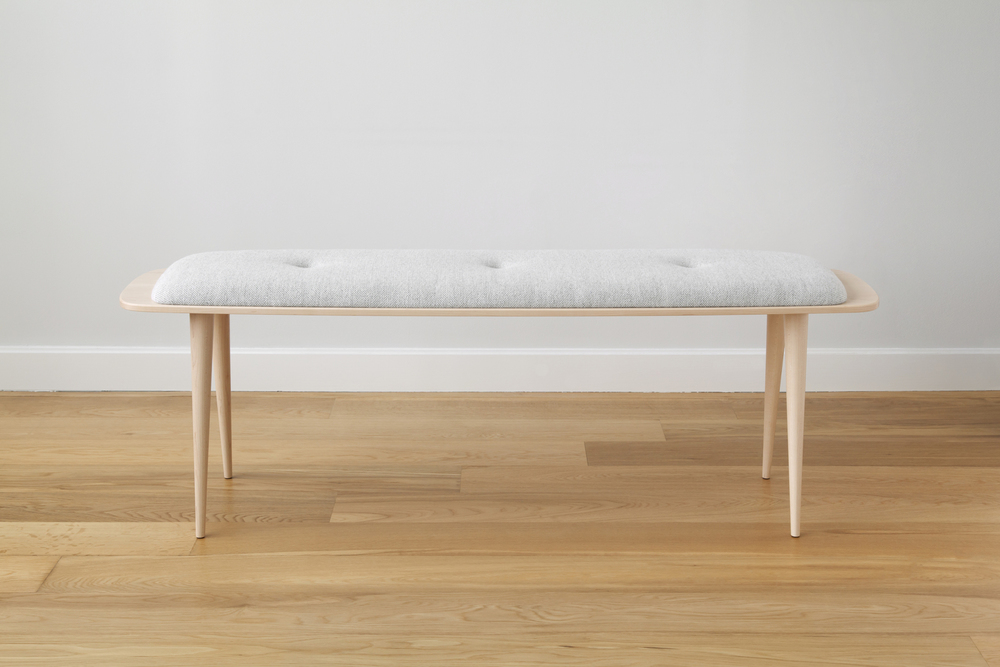 Flying Point Upholstered Bench in Maple and Wool Upholstery