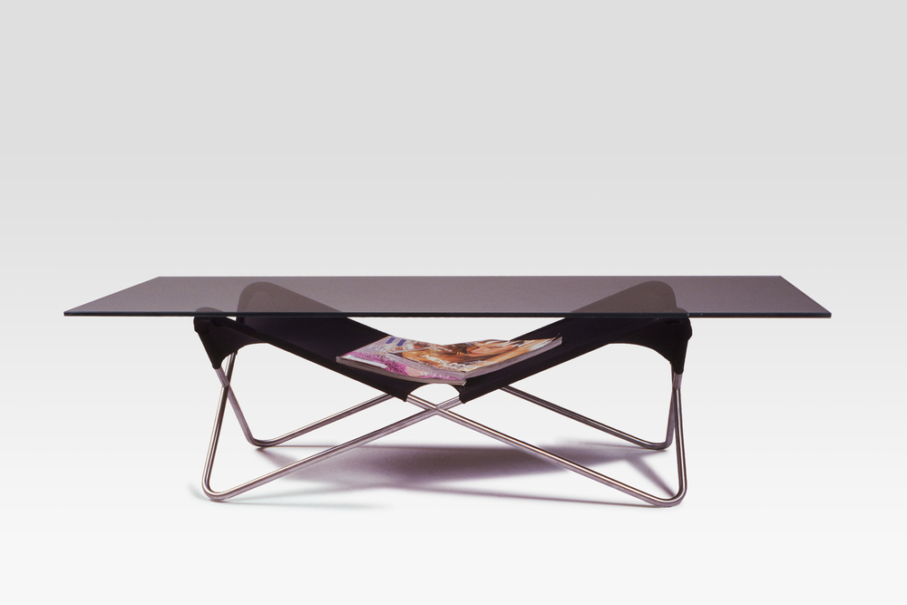 Locust Coffee Table in Satin Nickel, Black Nylon, Tempered Glass.