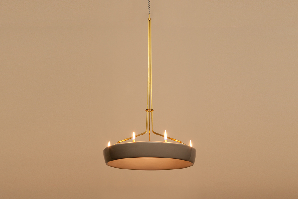 Halo Chandelier in Glazed Ceramic Stoneware and Brass designed by Piet Houtenbos in Brooklyn, NY.
