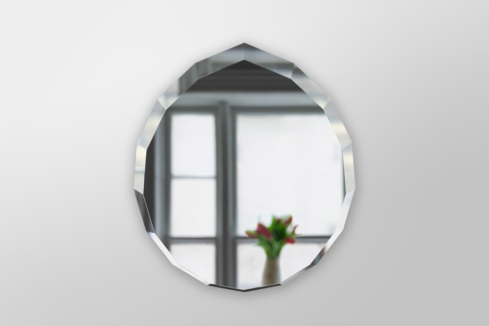 Diamond Mirror.  A Beveled Mirror Designed by Piet Houtenbos in Brooklyn, NY.