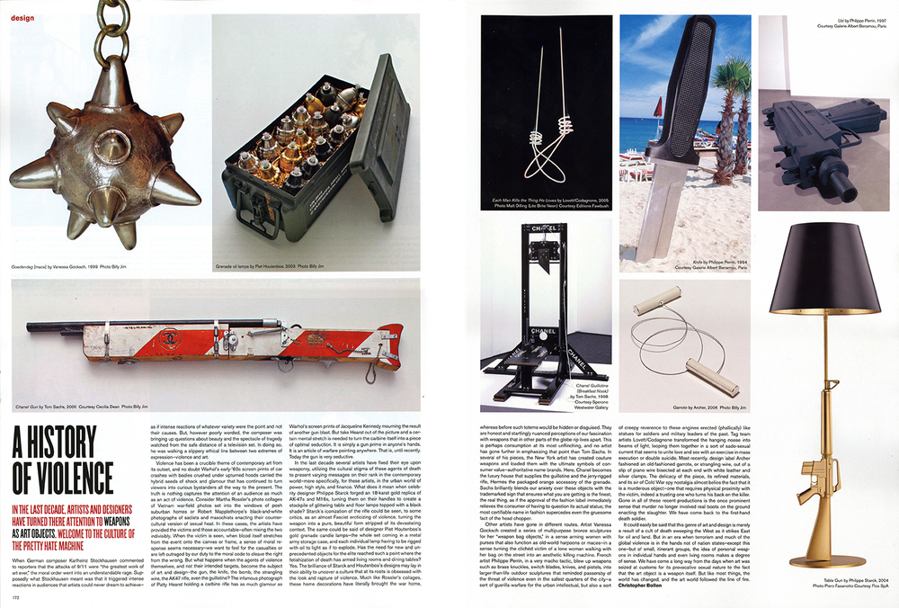 "A case load of Hand Grenade Oil Lamps is featured in an article titled ""A History of Violence"" in V Magazine."