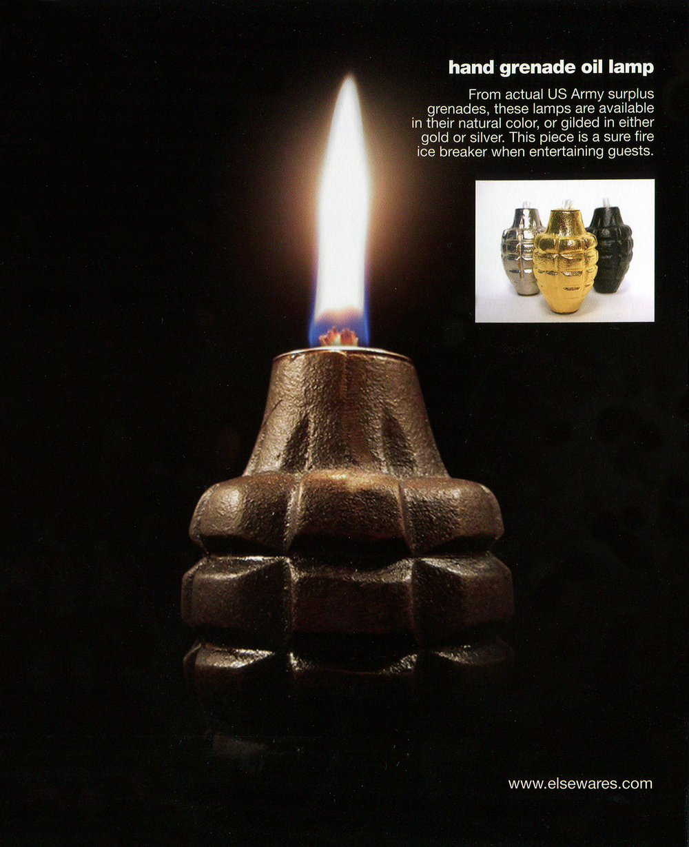 "Grenade Oil Lamps featured in ""Cool Green Stuff - A Guide to Finding Great Recycled, Sustainable, Renewable Objects You Will Love"" by Dave Evans"