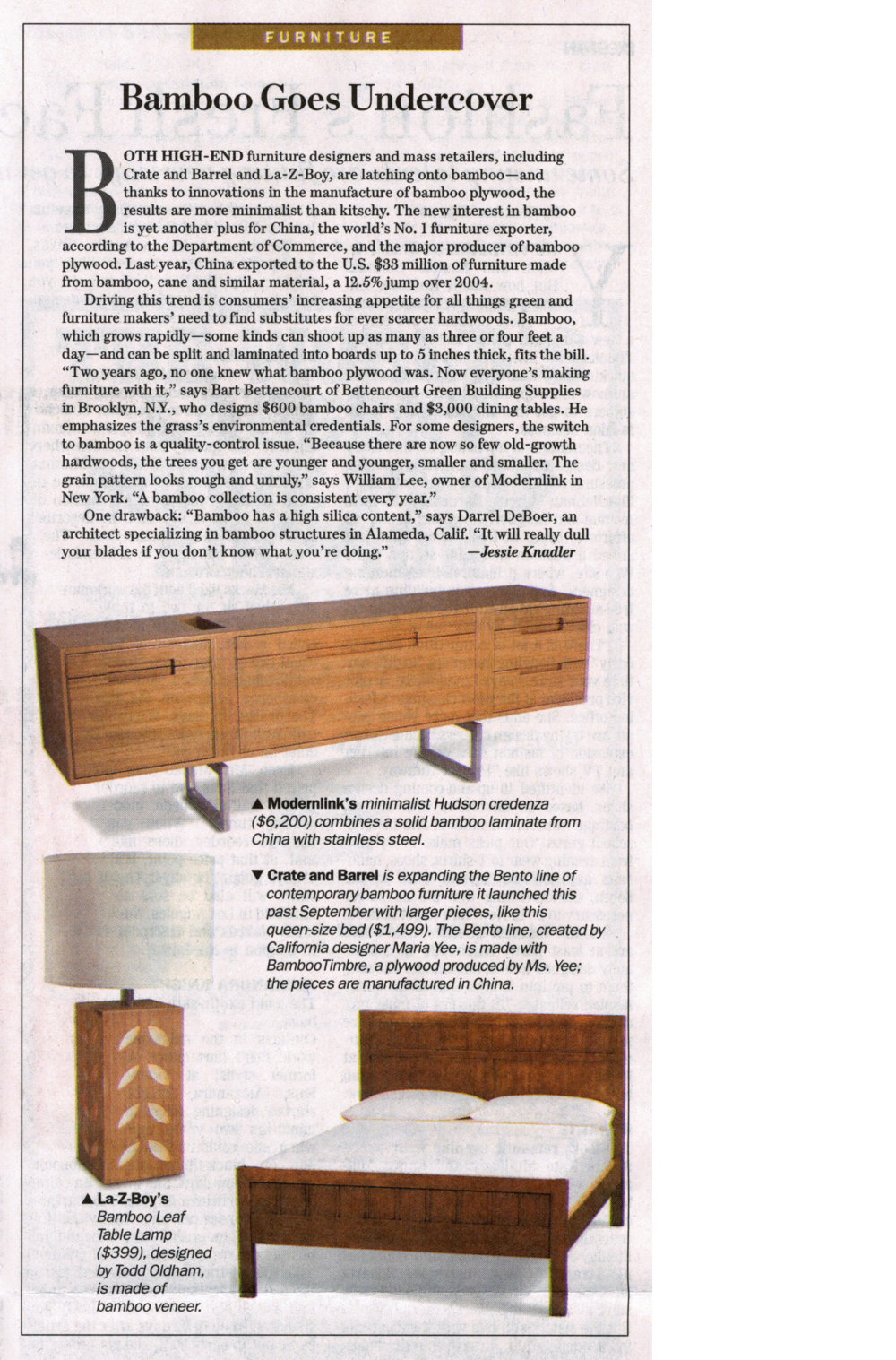 "Modernlink's Onelink Collection designed by Piet Houtenbos highlighted in an article titled, ""Bamboo Goes Undercover"" by Jessie Knadler for the Wall Street Journal."