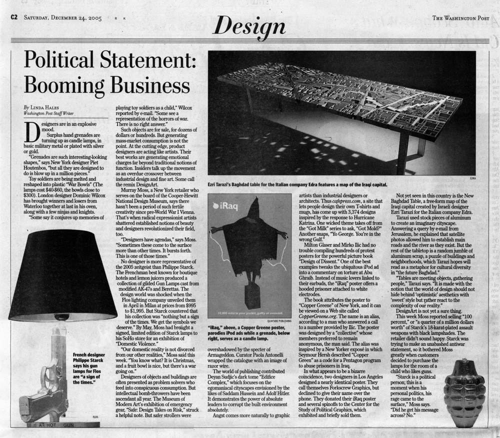 "The Hand Grenade Oil Lamps featured a The Washington Post article, ""Political Statement: Booming Business"""
