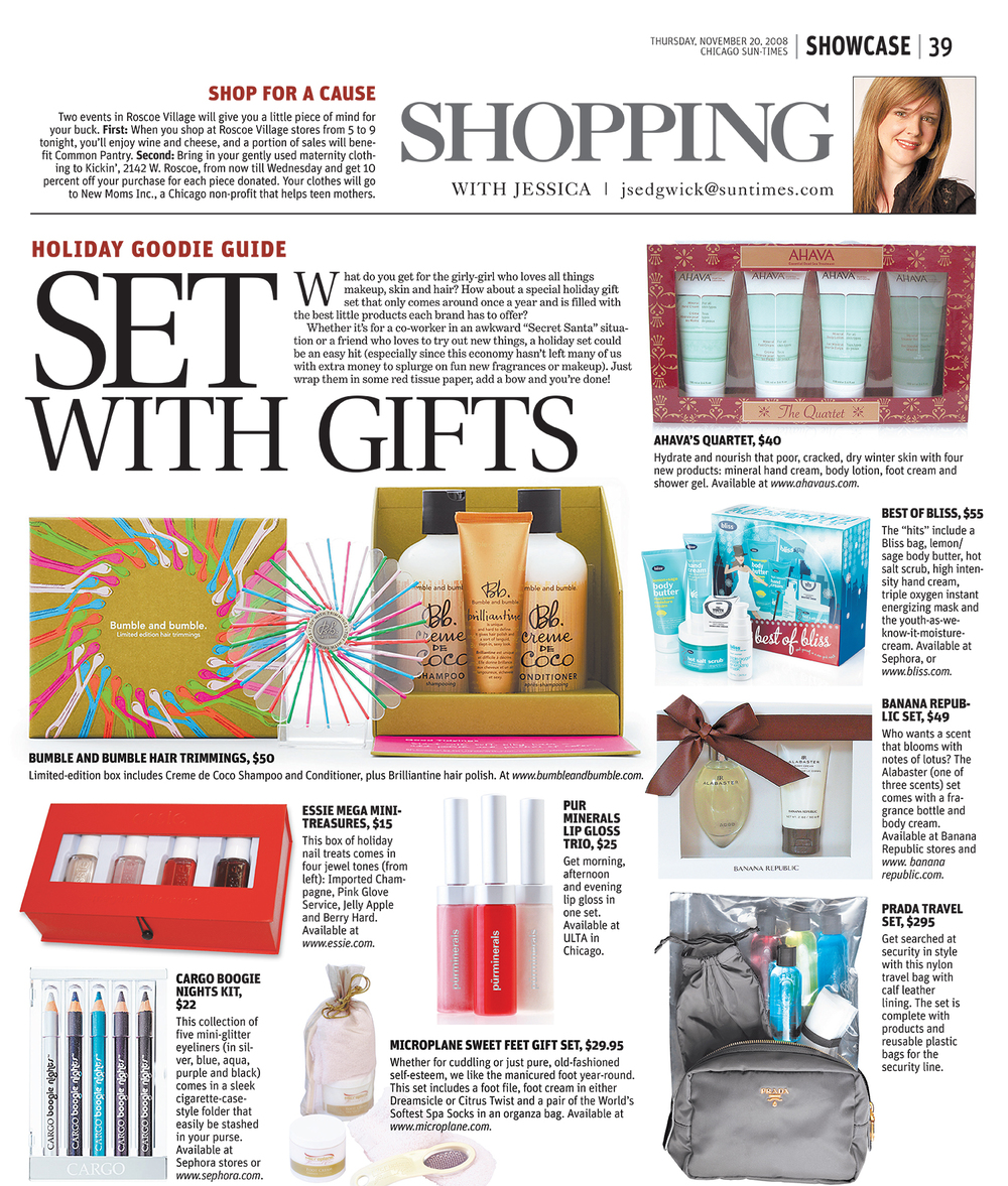 "Piet Houtenbos' work for bumble and bumble's holiday gift box featured in the Chicago Sun Times ""Holiday Goodie Guide with Jessica Sedgwick."