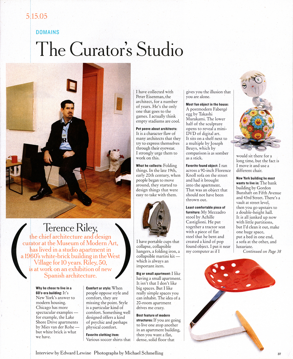 "The New York Times Magazine features Terrence Riley, Curator of Architecture at the Museum of Modern Art in, ""The Curators Studio""."