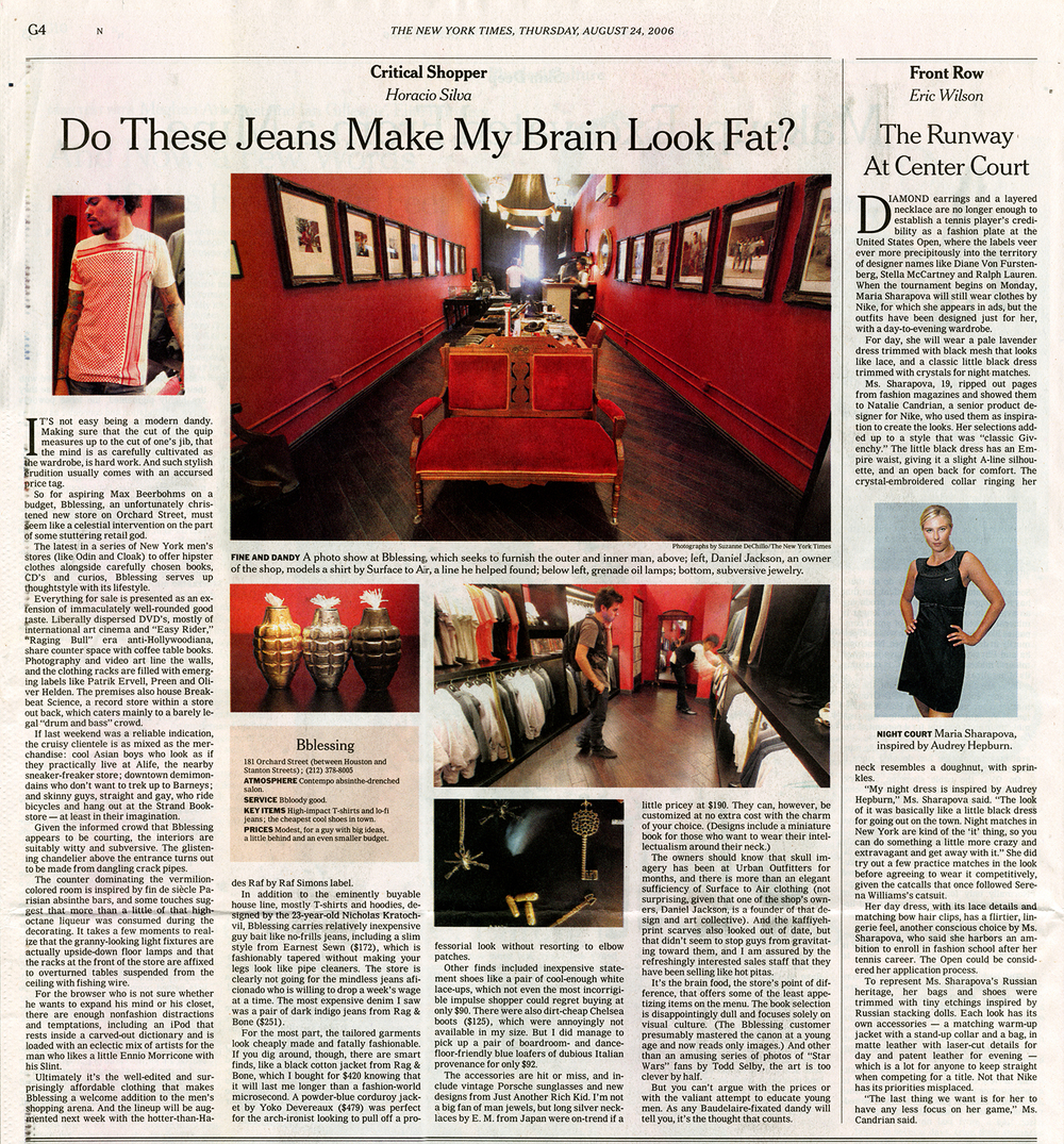 The New York Times Style Section features a new Manhattan boutique carrying the Hand Grenade Oil Lamps.