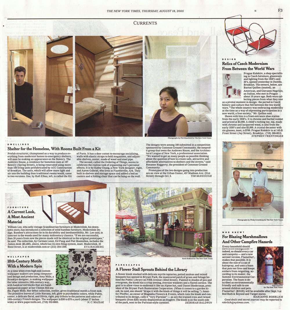 "The Onelink collection of furniture for modernlink designed by Piet Houtenbos featured in The New York Times article, ""A Current Look, A Most Ancient Material"" by Eva Hagberg."
