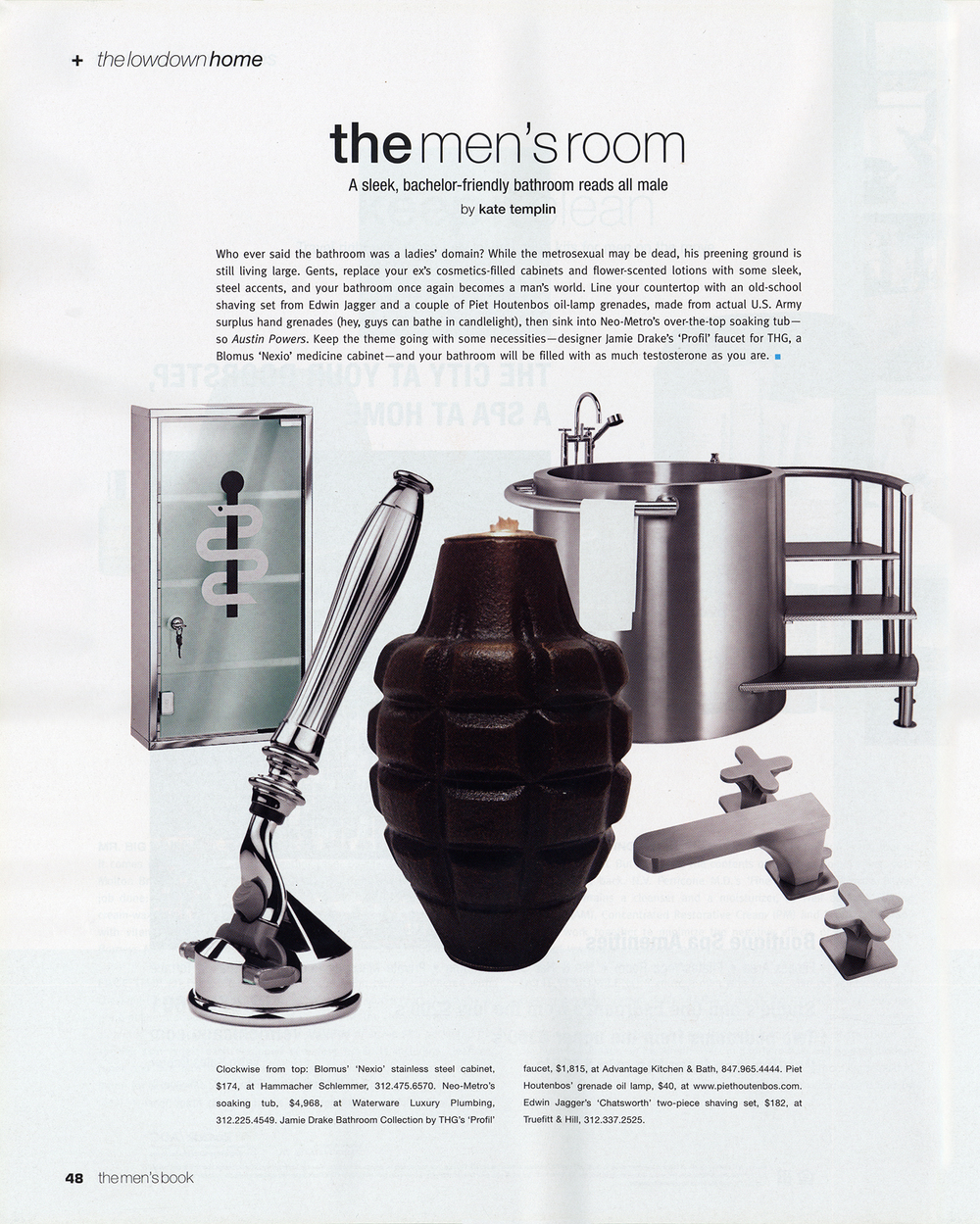 Grenade Oil Lamps featured in Modern Luxury Men's Book.