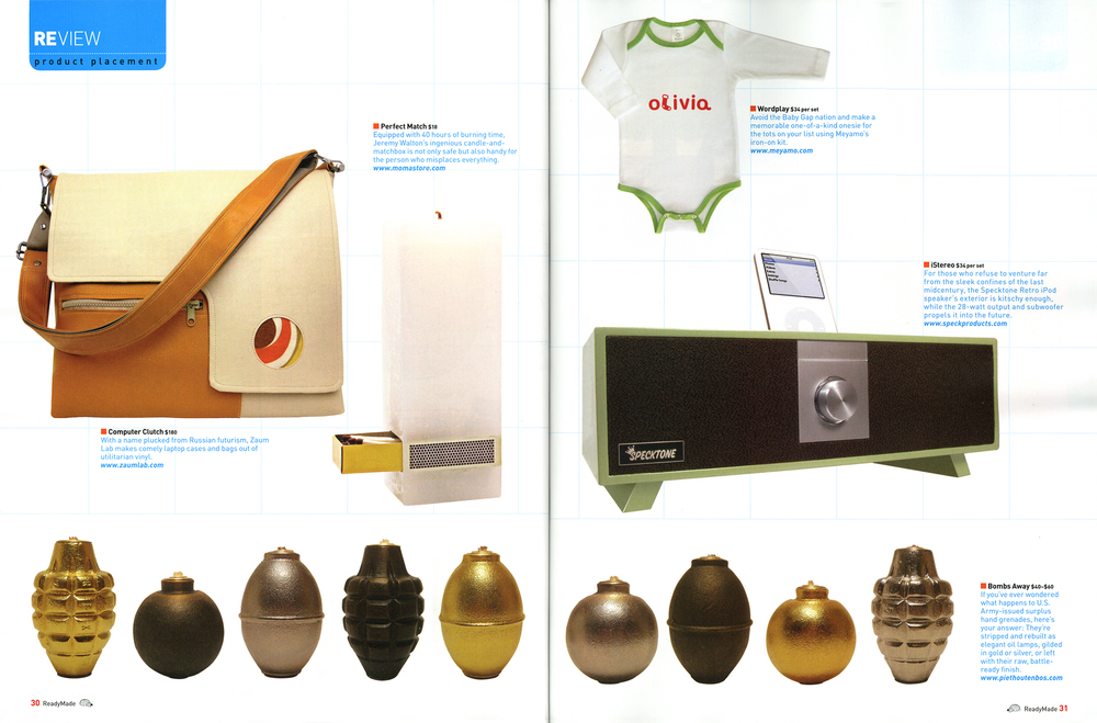 The whole lineup of Hand Grenade Oil Lamps in Ready Made Magazine.
