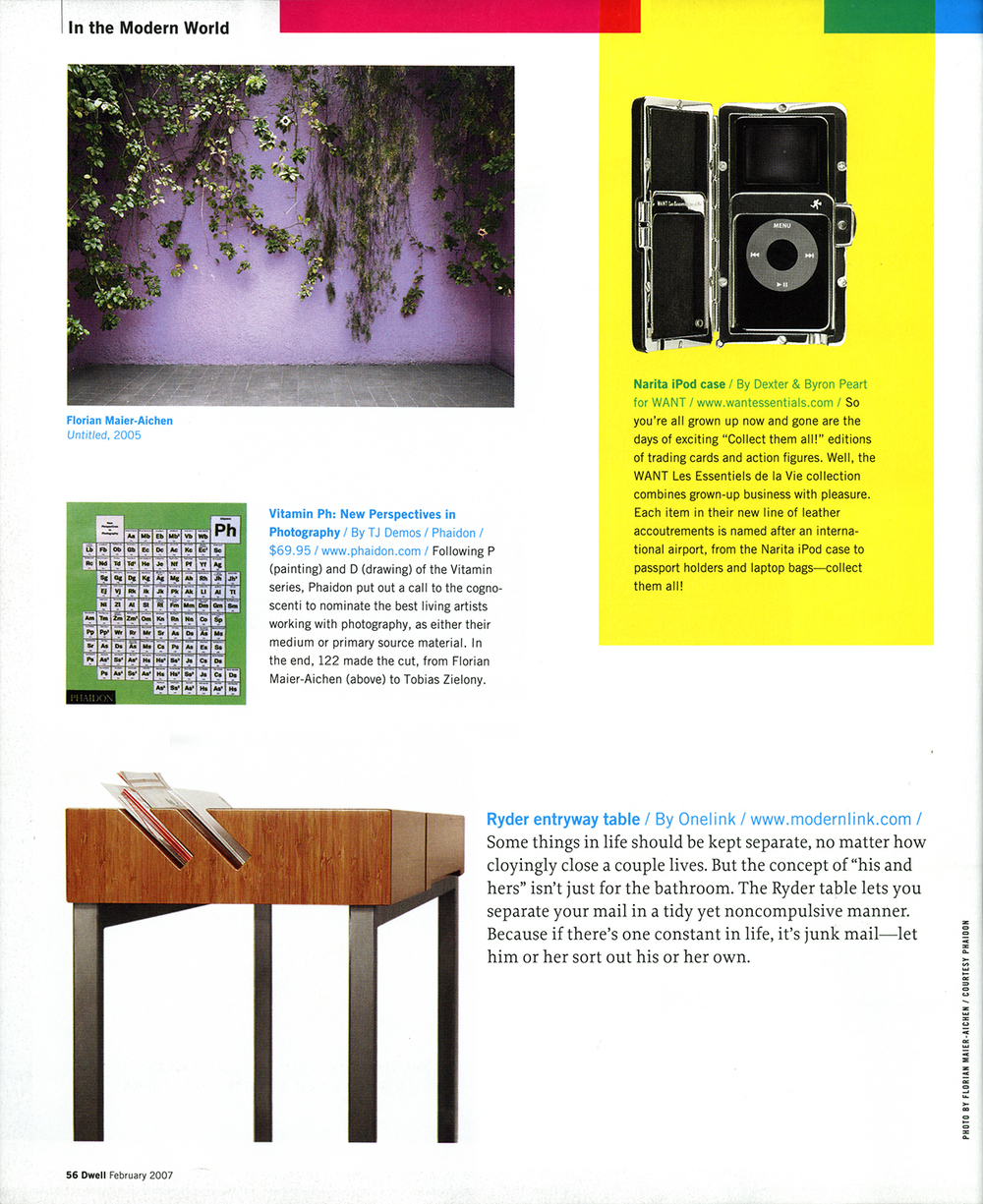 Modernlink's 'Ryder' entryway table and its built in mail slots featured in Dwell magazine's February issue.