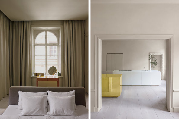 From left: In the bedroom, heavy curtains are essential for sleep in summertime, when it's only dark for a few hours; the kitchen, with the brass storage cube and a similar cube made of Corian.   Credit  Henry Bourne