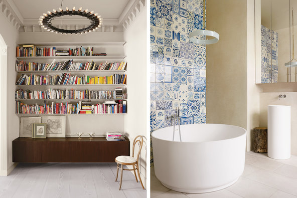 From left: The entry also functions as a library, featuring old maps of the Habsburg Empire and a Thonet-style chair with an origami seat by the London-based designer Rentaro Nishimura; a Halo Chandelier by Piet Houtenbos hangs over an Agape tub in the master bathroom; the wall is covered with mismatched Portuguese tiles.   Credit  Henry Bourne