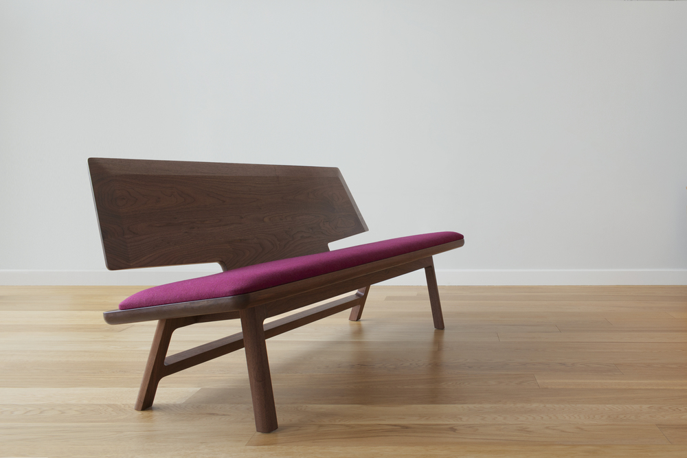 Coventree Solid Wood Bench in Walnut and Wool Upholstry