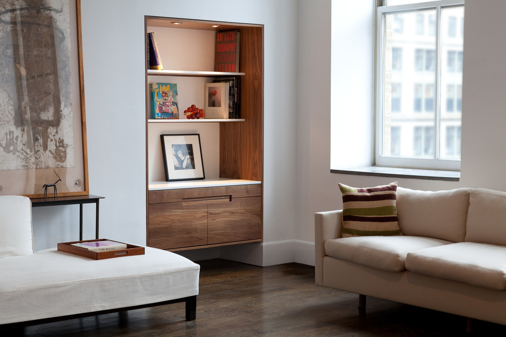 Great Jones Library / Bookcase in Walnut and Corian