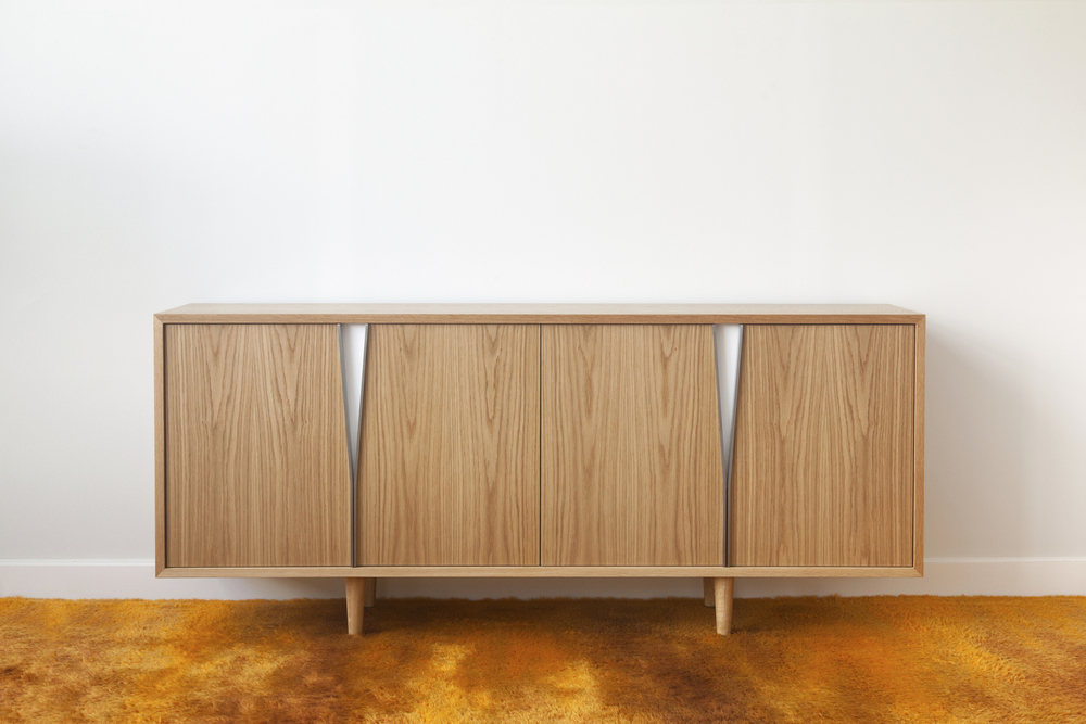 Halsey Five Credenza / Sideboard in White Oak, Lacquered Steel and White Satin Lacquer.