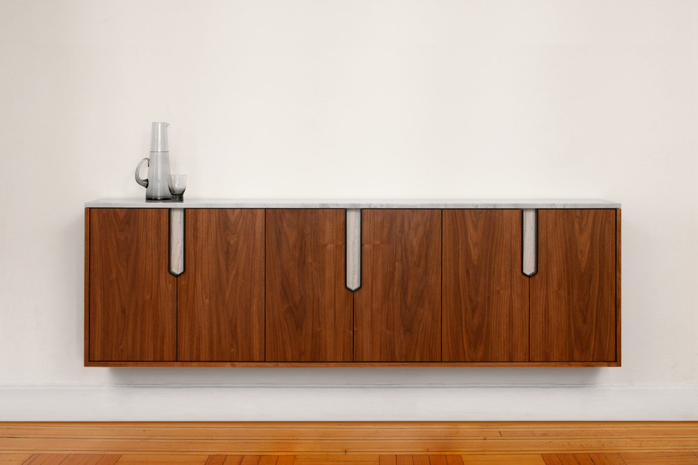 Halsey Credenza / Sideboard in Walnut, Black Lacquered Steel Luce di Luna Quartzite