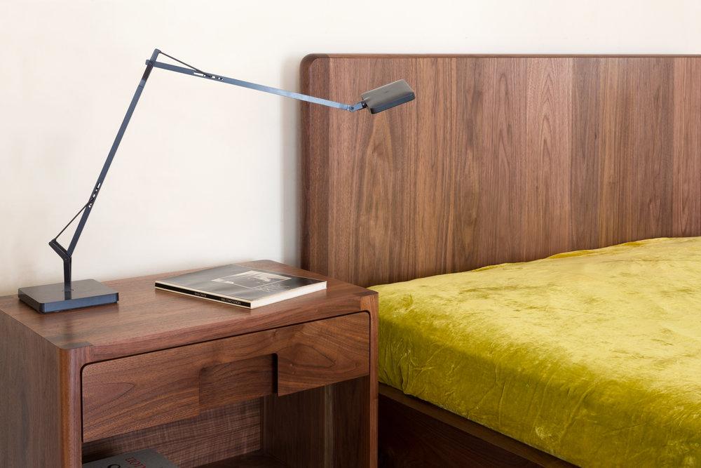 Hayground Bed in Walnut by Piet Houtenbos