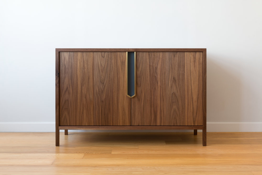 Halsey Cabinet in Walnut, Brass and Lacquer