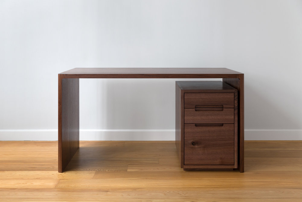 Fina Writing Desk in Solid Walnut by Piet Houtenbos