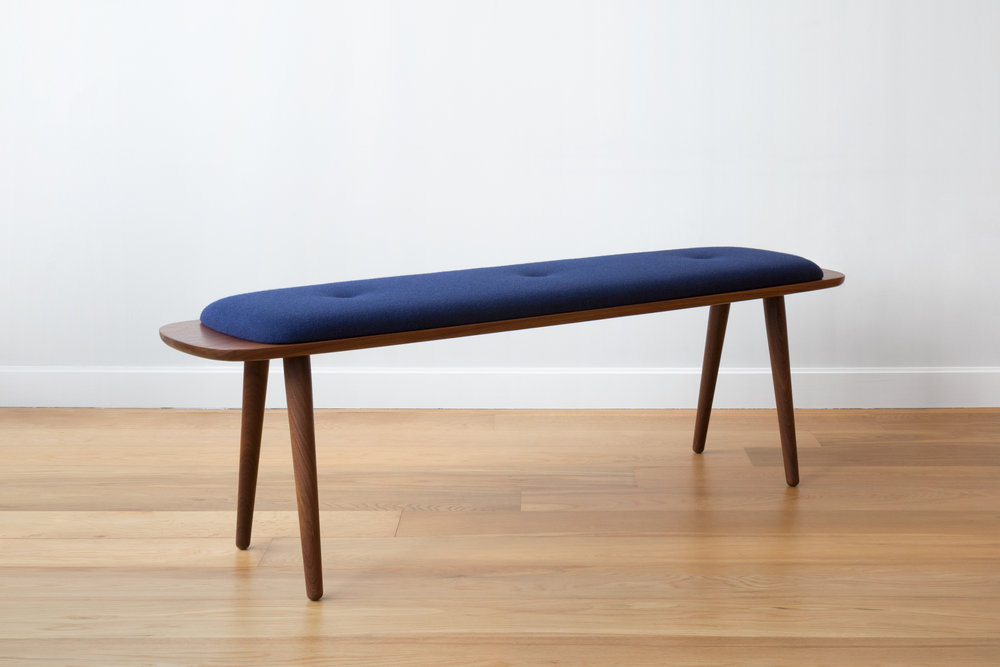 Flying Point Upholstered Benchin Walnut and Wool Upholstery