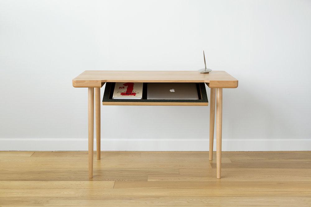 """Wynd Writing Desk - European Beech, Felt48"""" Length / 25"""" Depth / 28.5"""" Height$3600"""