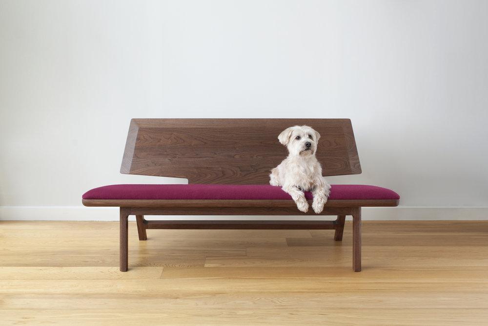 "Coventree reclined bench - Walnut, Deep Magenta Hallingdal Wool64"" Length / 26"" Depth / 30"" Height$4600"
