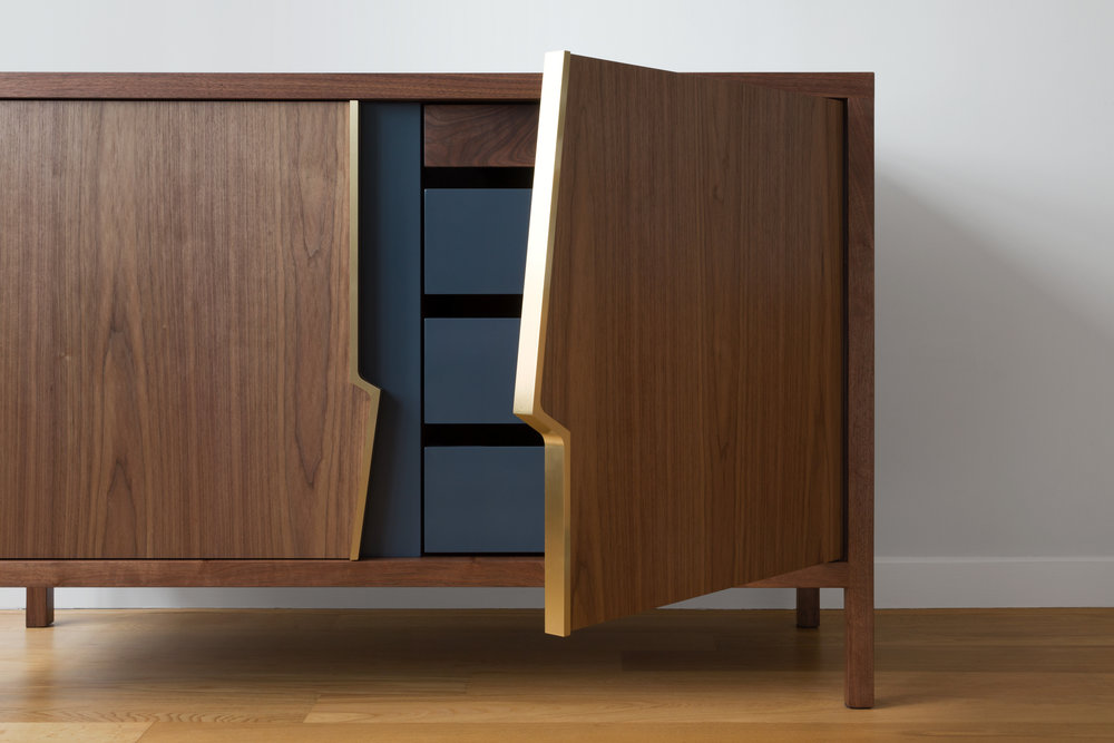 Halsey Fracture Dresser by Piet Houtenbos in Walnut and Westcott Navy Lacquer