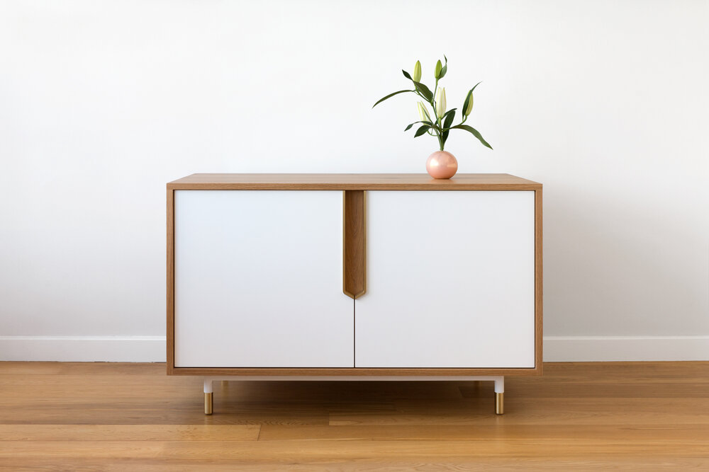 Brass Halsey Cabinet / Sideboard in White Oak, Brass and Lacquer.