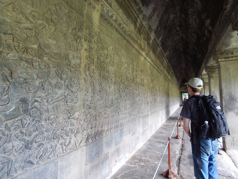This is an outer wall of the main Angkor Wat temple depicting a battle between the Khmers (the builders/residents of the temple) and Chams, their traditional enemies. Bows and arrows, spears, chariots, horses, elephants, foot soldiers, squadron leaders/chiefs and mercenary support groups are all depicted in great detail.