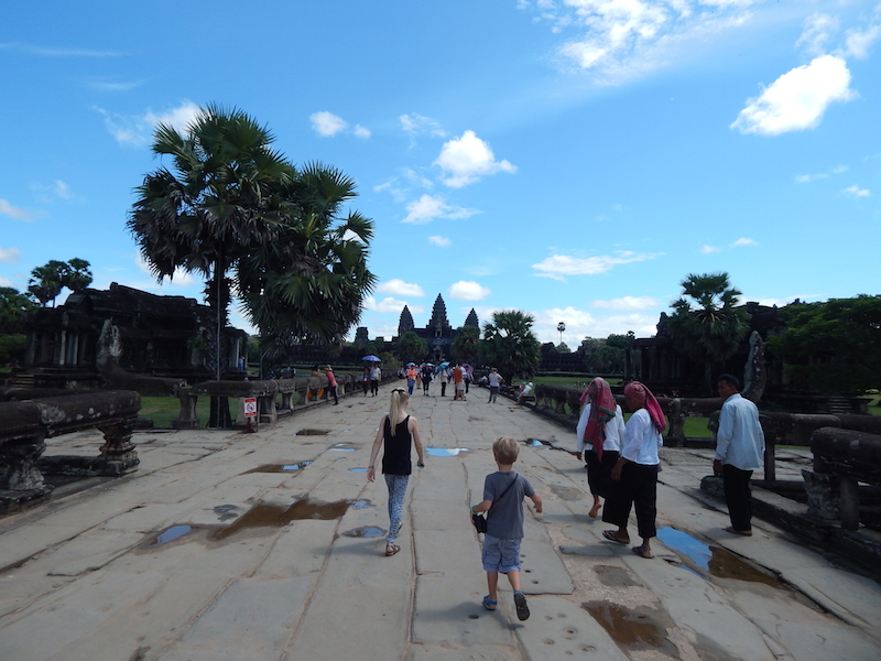 This is the walkway leading from the outer wall and across the massive moat around Ankor's primary wat (temple)