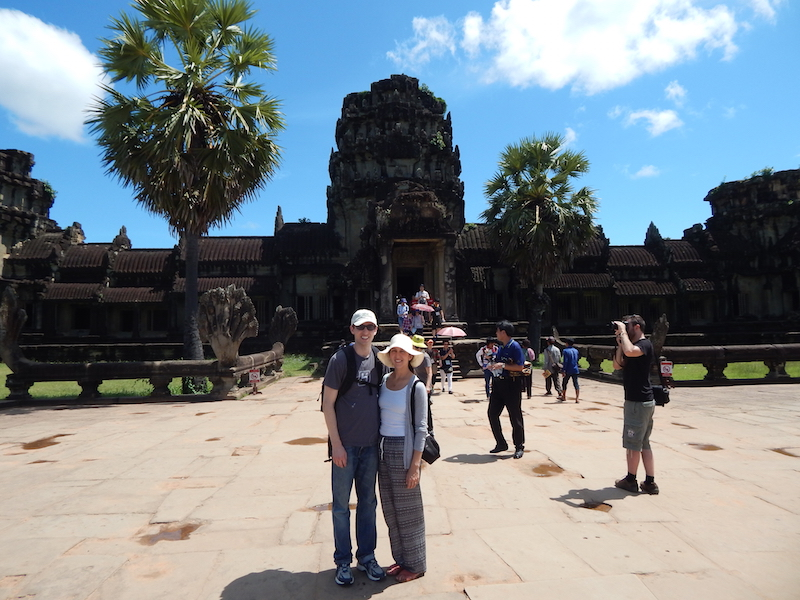 Us in front of the outer wall of the main temple. That's right, this is just the wall.