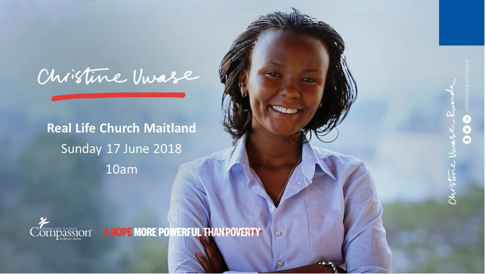Compassion Sunday: Sunday 17 June - 10am with Guest speaker: Christine Uwase, a graduate of Compassion's Program in Rwanda sharing her story. Plus an opportunity to sponsor a child from one of our partner projects in Medan, Indonesia.