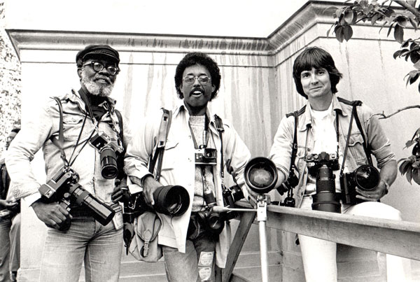 Me, with southern California photographers (from left) Win Muldrow and Bruce Talamon, at the Berkeley Jazz Festival (1980) Photo credit: Mark Mander