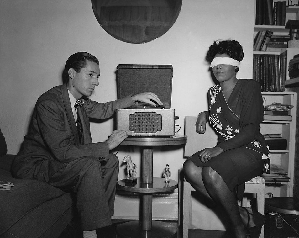 Leonard Feather and Mary Lou Williams doing   the first ever Blindfold Test (Metronome magazine, September 1946)