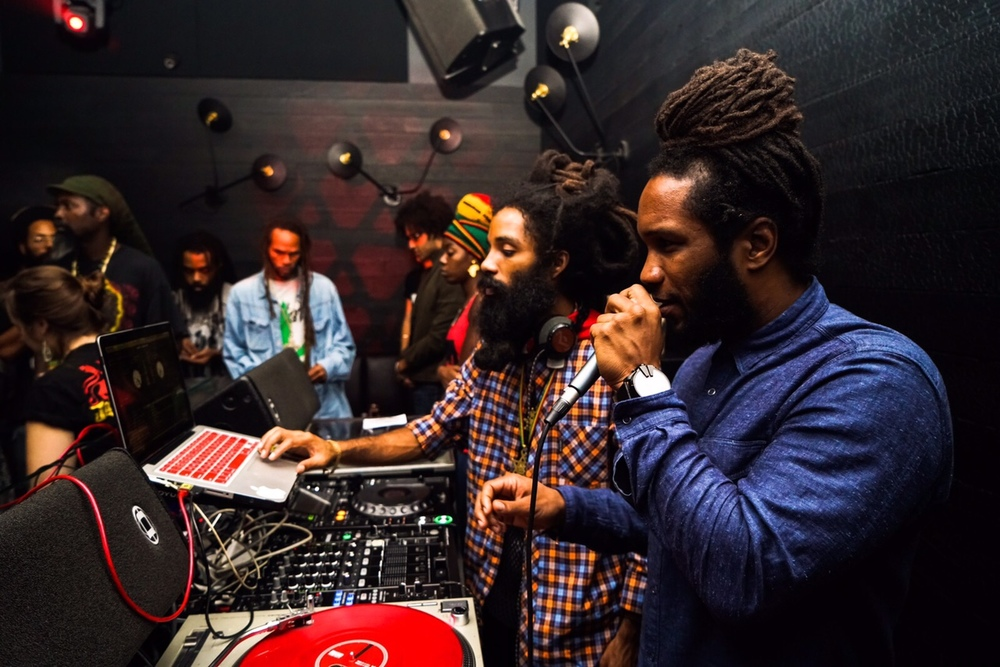 Yaadcore and Jason Panton (on mic) at Dubwise Miami.  (Photo by Radiant Sun)