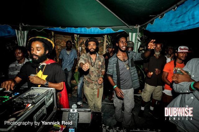Dre Island and Chronixx enjoying Yaadcore selections at Dubwise Jamaica (Photo by Yannick Reid)
