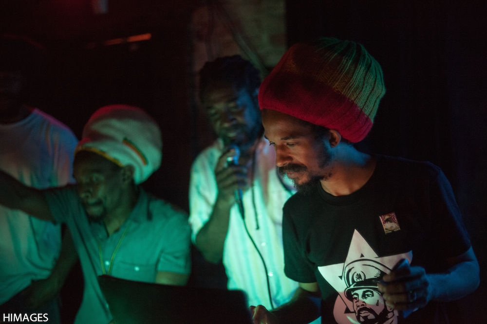 Dutty Bookman at Dubwise Washington DC, with General Pecos on mic. (Photo by El Puru)