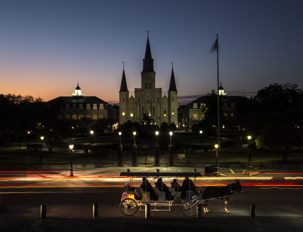 St. Louis Cathedral at Civil Twilight, seen from the overlook across Decatur St. in the New Orleans French Quarter. ©Zack Smith Photography