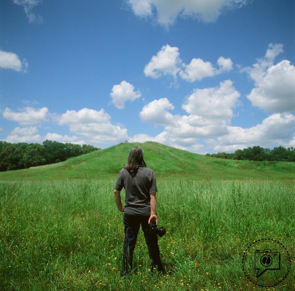 Photographer Jenny Ellerbe at the Poverty Point mound. ©Zack Smith Photography 2015