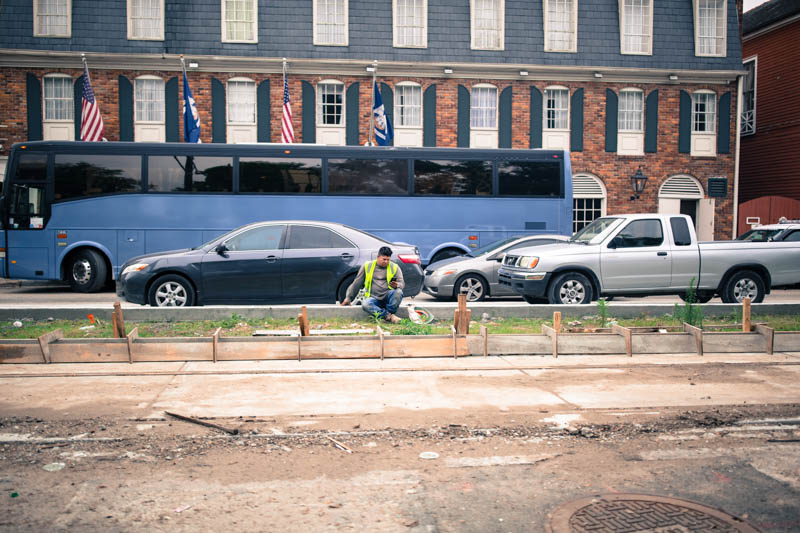 Zack Smith Photography New Orleans bus construction worker ruins cars traffic