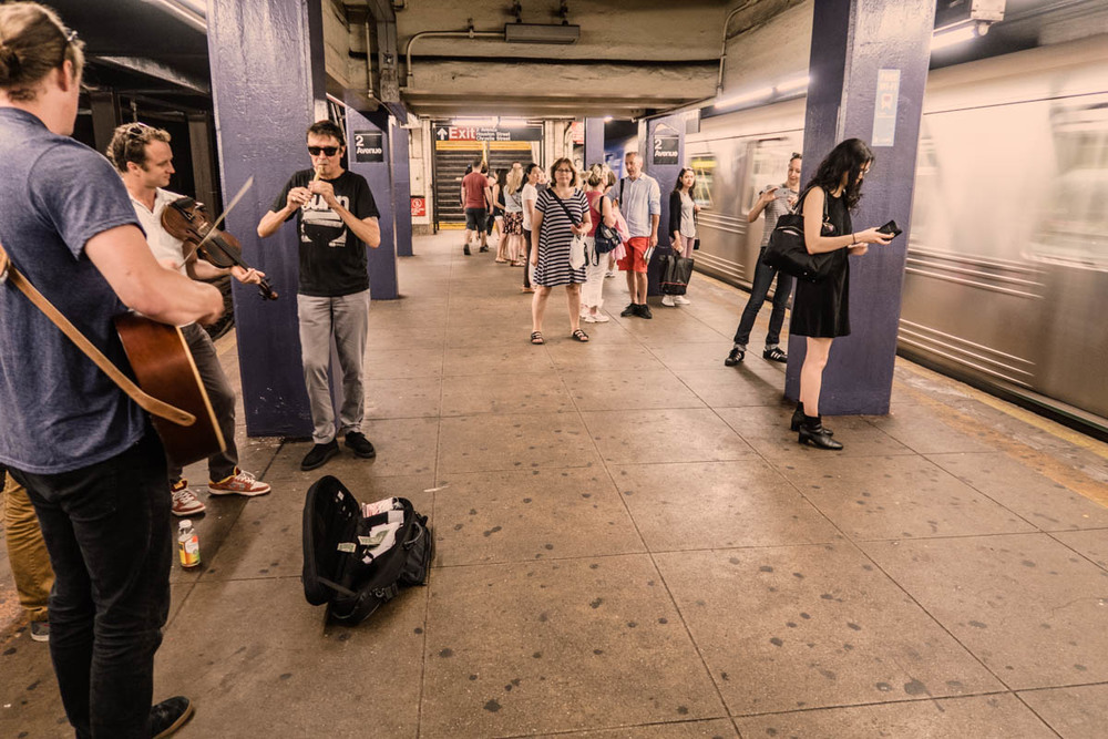 Zack Smith Photography New York City Pilette's Ghost Fiddler People Subway Guitar player