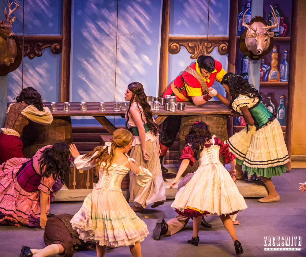 Beauty and the Beast The Performing Arts Academy Talent Performance Photography Zack Smith Photographer Chalmette Musical Theater Gaston Tavern Bar Scene Brawl Fighting Fight
