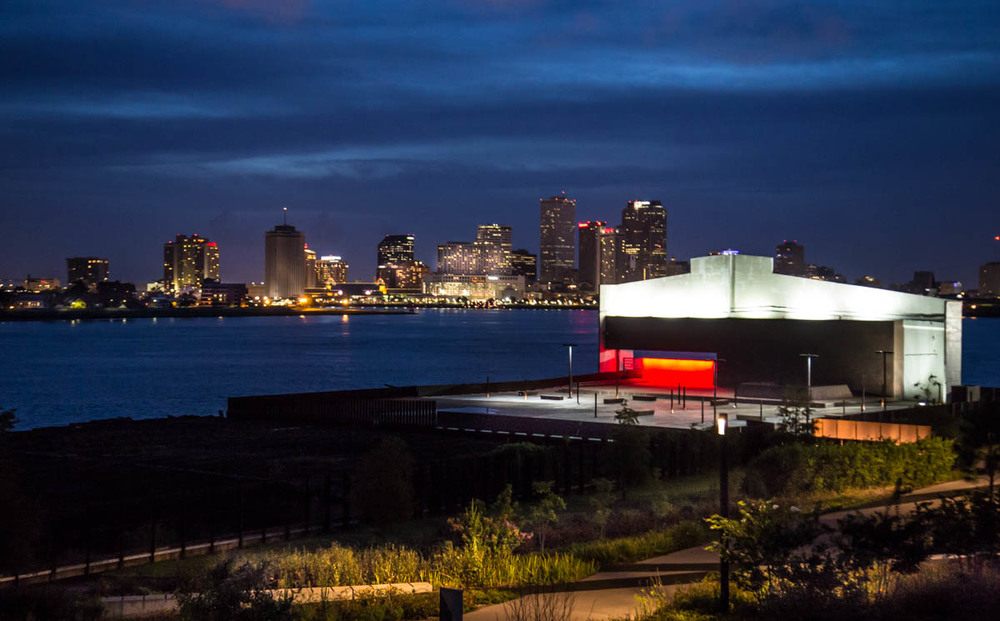 The NOLA night lights up, and the views are amazing from Crescent Park!