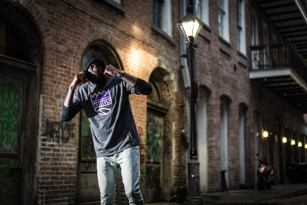 Baton Rouge model David Dunn Jr. (FiftyTwo45 Agency) wears some Sacramento Kings gear in New Orleans for my NBA All Stars weekend Instagram takeover.