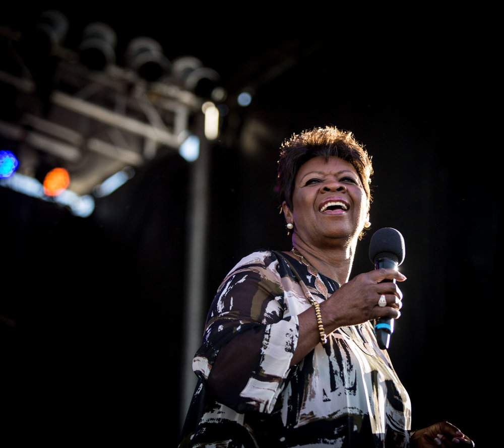 Irma Thomas's voice is still impeccable, deep, and with so much range. She sounded and looked fantastic.